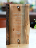 Blueberry Pine Living Edge Award with Black Color Fill Award