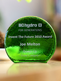 Recycled Emerald Glass Crescent Award