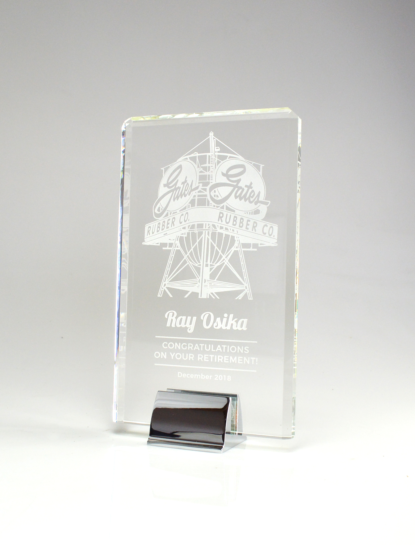 Crystal Tower Crystal Award with Chrome Base 6