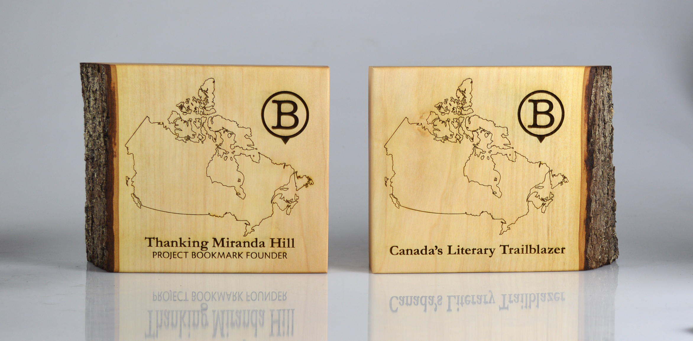 custom-award_sustainable_laser-engraved_salvaged-wood_bookends_recognition_north-america