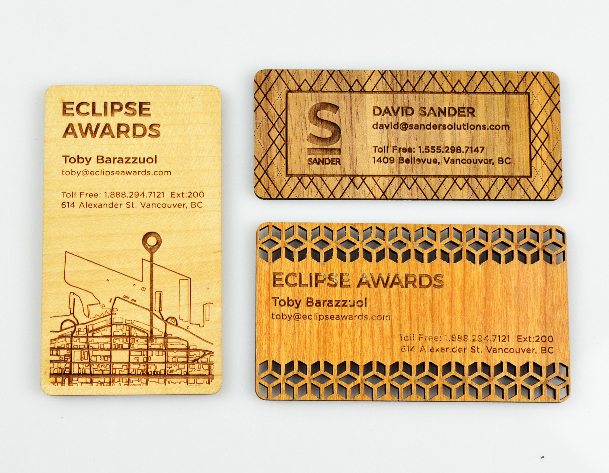 custom-awards_unique_sunwood_business-cards_personalized_laser-cut_eco-friendly_corporate_north-america