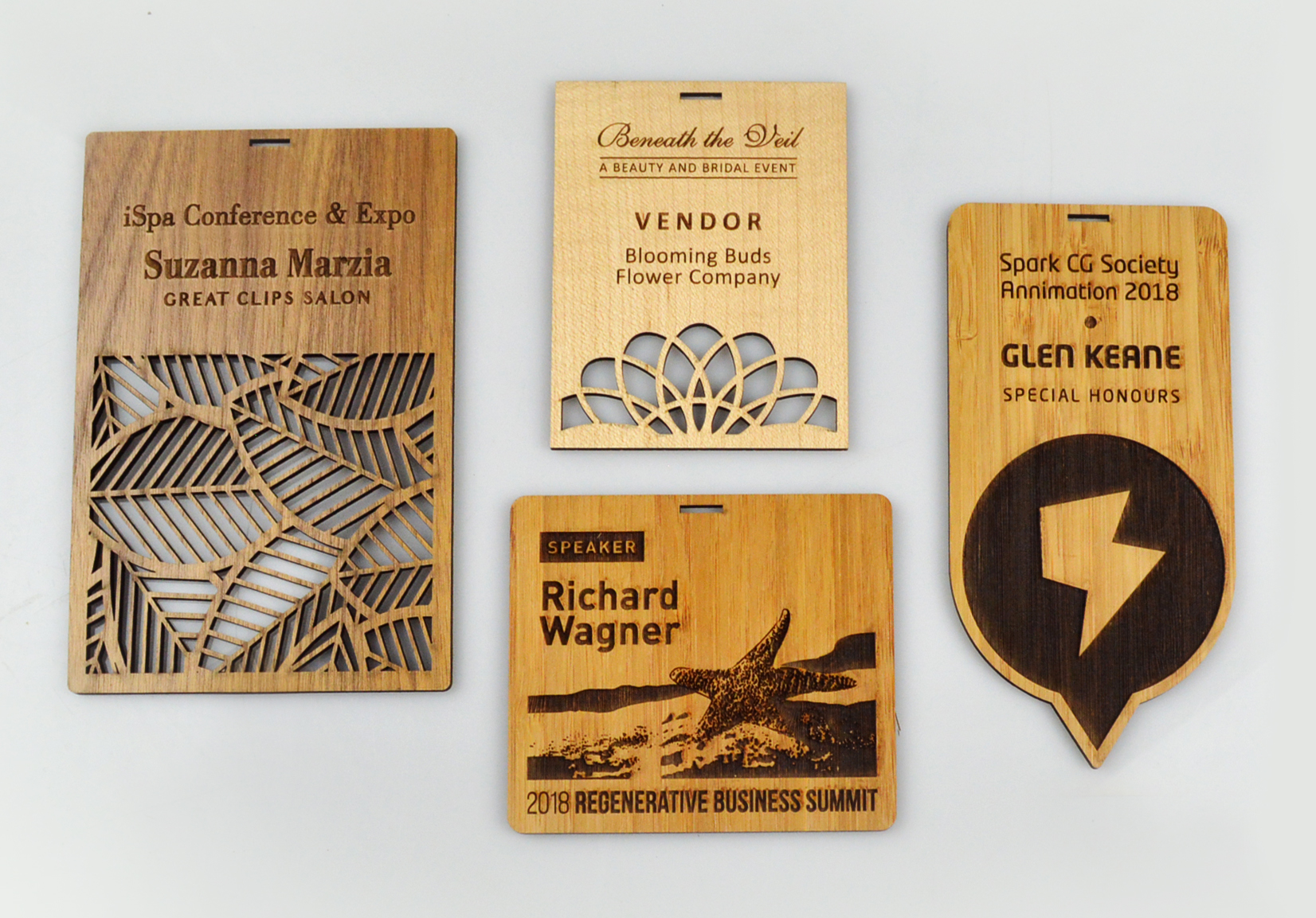 custom-awards_wood_conference-badges_personalized_laser-cut_eco-friendly_corporate_north-america2