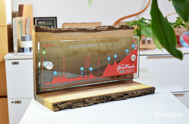 grande-fondo-award-unique-sustainable-salvaged-wood-and-glass-plaque-nonprofit-trophy-BC