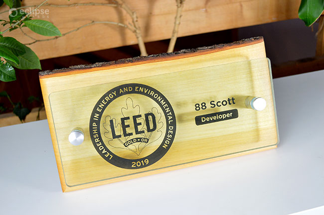 unique_eco-friendly-personalized-glass-and-wood-wall-plaque_green-building-trophy_Leed-plaque-canada